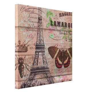 vintage floral París de la torre Eiffel elegante Impresión En Lienzo Estirada