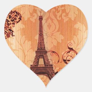 vintage floral París de la torre Eiffel elegante Pegatina En Forma De Corazón