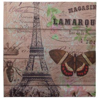 vintage floral París de la torre Eiffel elegante Servilleta
