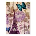 vintage floral París de la torre Eiffel elegante Postales