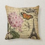 Vintage floral París del arte botánico elegante Almohada