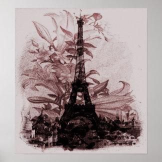 Vintage Floral Paris Eiffel Tower Poster