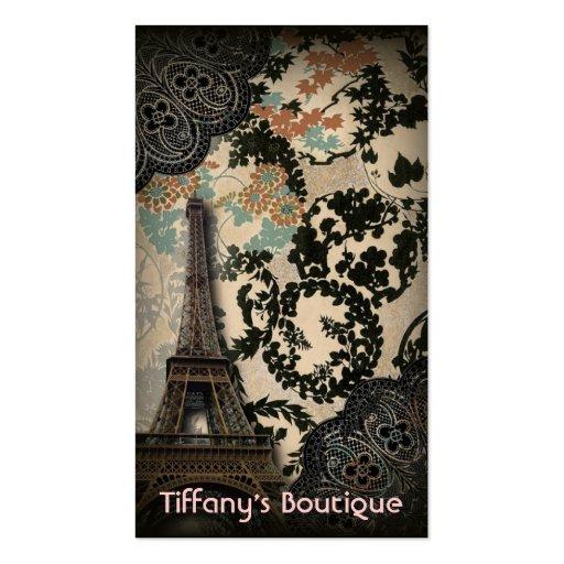 vintage floral paris fashion eiffel tower business card
