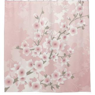 Vintage Floral Pastel Cherry Blossoms Shower Curtain