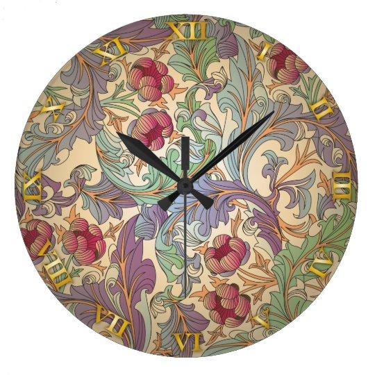 Vintage Floral Pattern - 9 Large Clock