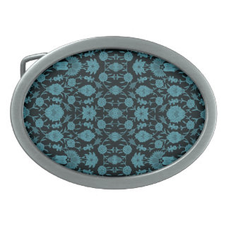 Vintage Floral Pattern - Aqua on Black Belt Buckle