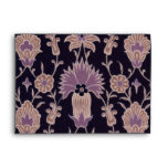 Vintage Floral Pattern - Black Mauve Pink Envelope