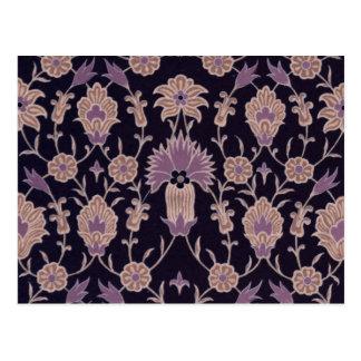 Vintage Floral Pattern - Black Mauve Pink Postcard