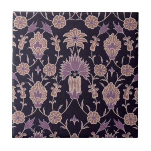 Vintage Floral Pattern - Black Mauve Pink Ceramic Tiles