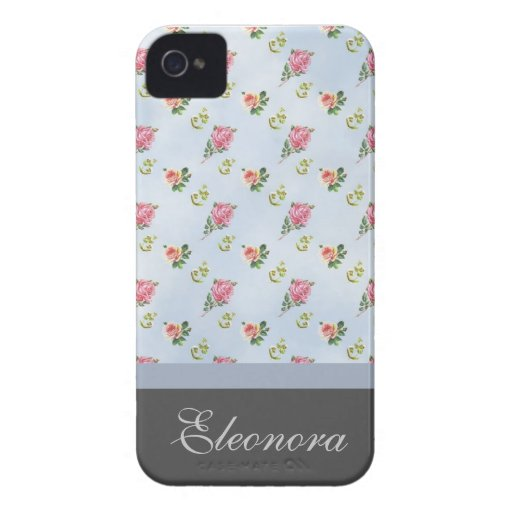 Vintage Floral Pattern - Blue Clouds iPhone 4 Cover