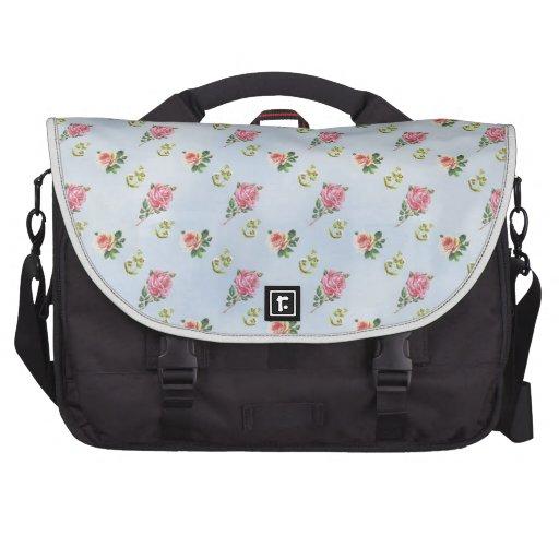 Vintage Floral Pattern - Blue Clouds Bags For Laptop