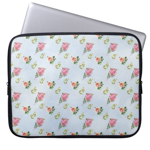 Vintage Floral Pattern - Blue Clouds Laptop Sleeve