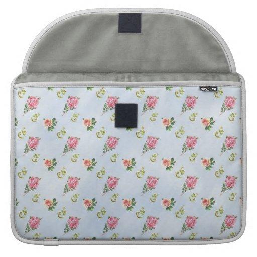 Vintage Floral Pattern - Blue Clouds Sleeve For MacBooks