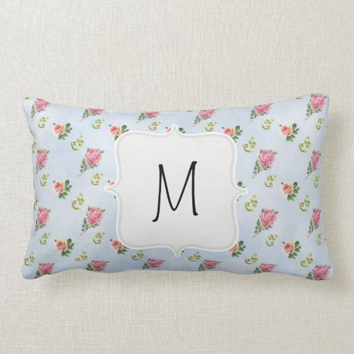 Vintage Floral Pattern - Blue Clouds Throw Pillow
