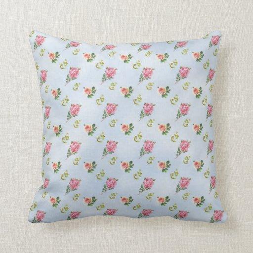 Vintage Floral Pattern - Blue Clouds Pillows