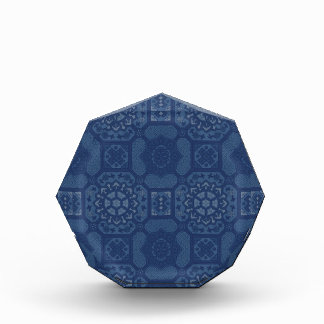 Vintage Floral Pattern - Blue on Blue Acrylic Award