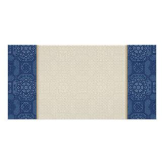 Vintage Floral Pattern - Blue on Blue Card
