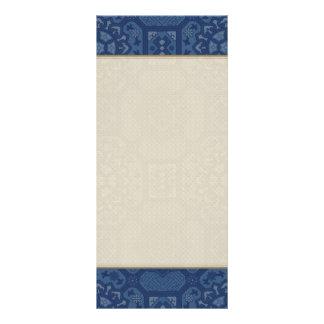 Vintage Floral Pattern - Blue on Blue Rack Card