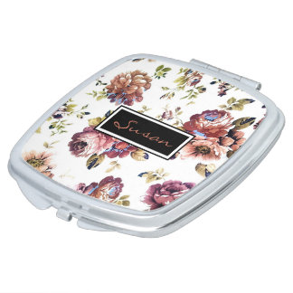Vintage Floral Pattern Compact Mirror