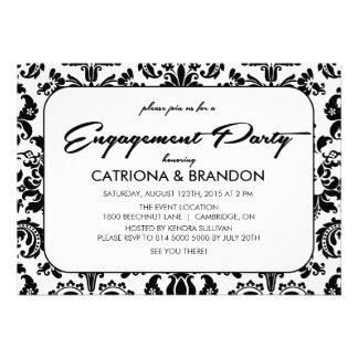 Vintage Floral Pattern Engagement Party Invitation
