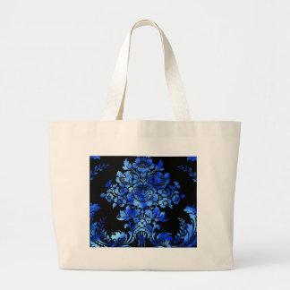 Vintage Floral Pattern Gift Black Blue Tote Bags