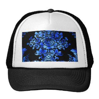 Vintage Floral Pattern Gift Black Blue Trucker Hat