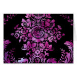 Vintage Floral Pattern Gift Black Pink Greeting Card