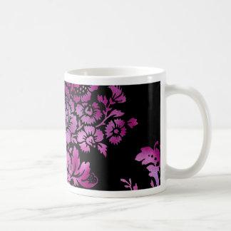 Vintage Floral Pattern Gift Black Pink Classic White Coffee Mug