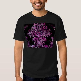 Vintage Floral Pattern Gift Black Pink T Shirt