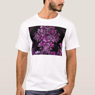 Vintage Floral Pattern Gift Black Pink T-Shirt