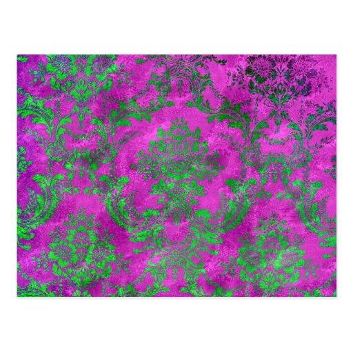 Vintage Floral Pattern Gift Pink Green Postcard