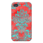 Vintage Floral Pattern Gift Red Blue iPhone 4 Covers
