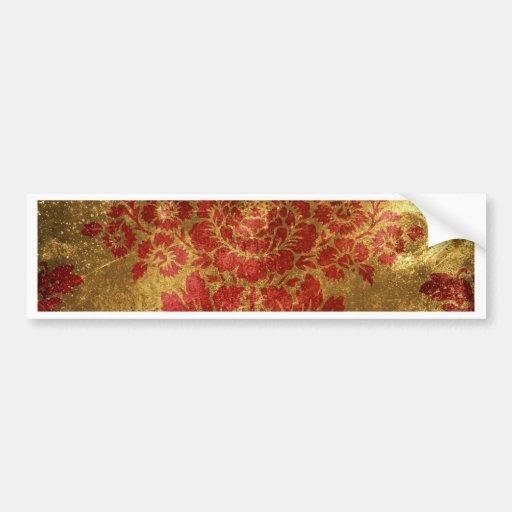 Vintage Floral Pattern Gift Red Gold Car Bumper Sticker