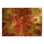 Vintage Floral Pattern Gift Red Gold Greeting Card
