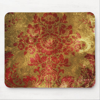 Vintage Floral Pattern Gift Red Gold Mouse Pad
