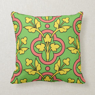 Vintage Floral Pattern Green Peach Yellow Decor Throw Pillow