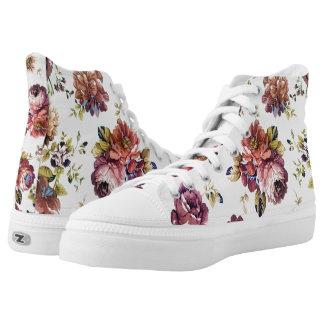 Vintage Floral Pattern High Top Sneakers