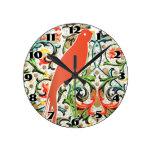 Vintage Floral Pattern Love Bird Clock