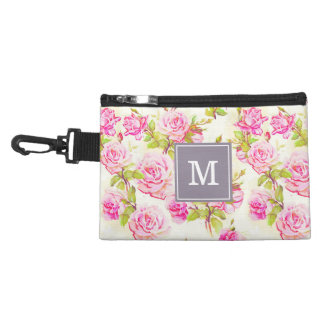 Vintage Floral Pattern Old Pink Roses Monogram C Accessory Bag