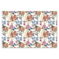 Vintage Floral Pattern on White Tissue Paper