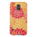 Vintage Floral Pattern Orange Red Dahlias Flowers Galaxy S5 Cover