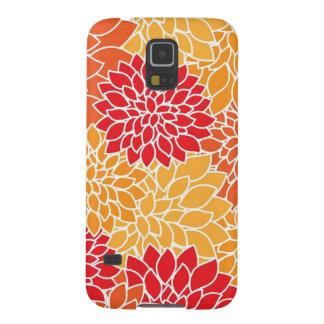 Vintage Floral Pattern Orange Red Dahlias Flowers Galaxy S5 Cases
