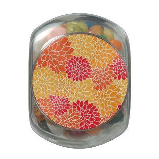 Vintage Floral Pattern Orange Red Dahlias Flowers Glass Jars