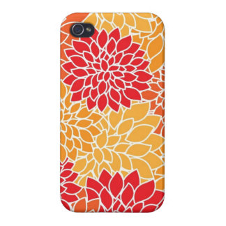 Vintage Floral Pattern Orange Red Dahlias Flowers iPhone 4 Cases