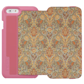 Vintage Floral Pattern Paisley Cyan Green Yellow iPhone 6/6s Wallet Case