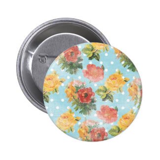 Vintage Floral Pattern Pinback Buttons