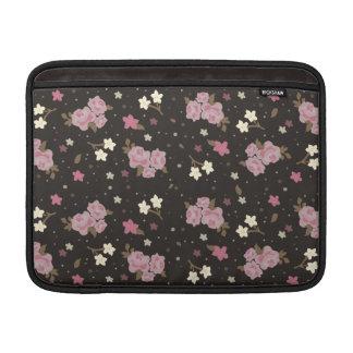 Vintage Floral Pattern - Pink Roses on Dark Brown Sleeve For MacBook Air