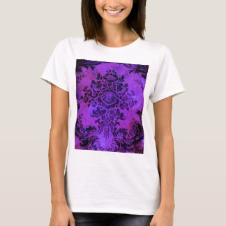 Vintage Floral Pattern Purple PInk Blue T-Shirt