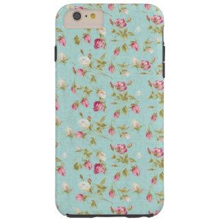Vintage floral pattern roses blue shabby rose chic tough iPhone 6 plus case