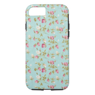 Vintage floral pattern roses blue shabby rose chic iPhone 7 case